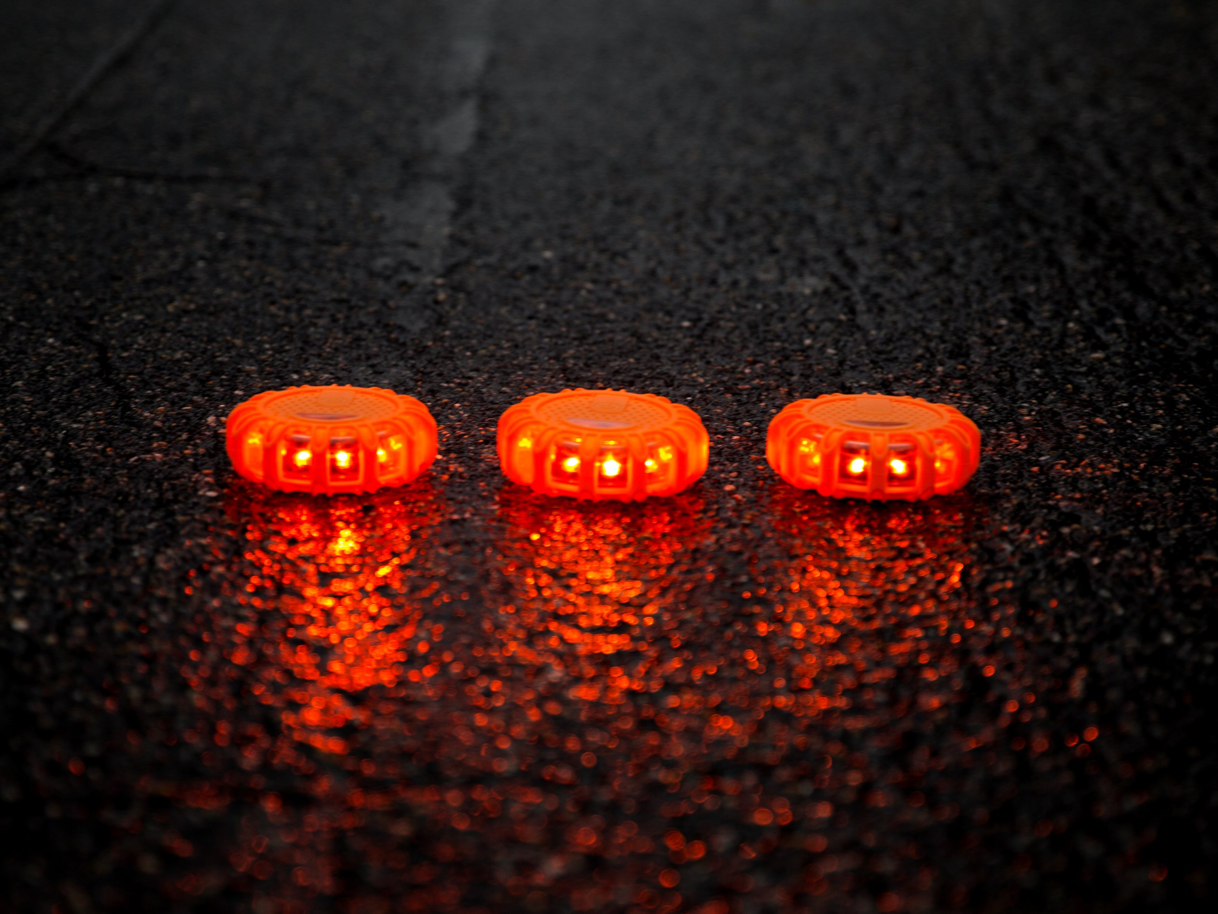 "Flashing LED Emergency Road Flares: 4"" Magnetic Roadside Flare Beacon Discs for Car, Truck or Boat - Warning Lights for Safety During Vehicle Emergencies - Use on All Vehicles - 3 Pack with Carry Ba"