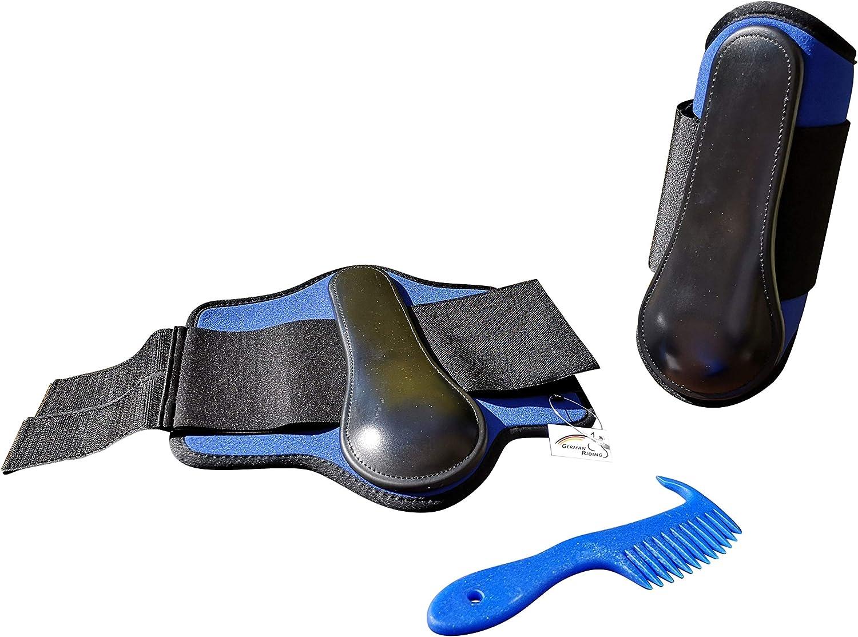 Markgraf - Juego de Botas de Neopreno para Caballo, Color Azul y Peinado Haas Man