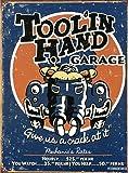 Toolin Hand Garage Tin Sign 13 x 16in