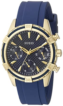 8bb60faab Image Unavailable. Image not available for. Color: GUESS Women's U0562L2  Sporty Gold-Tone Stainless Steel Watch with Blue Dial, Crystal-