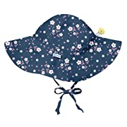 i play. Baby Girls Brim Sun Protection Hat, Navy Posies, 0/6mo