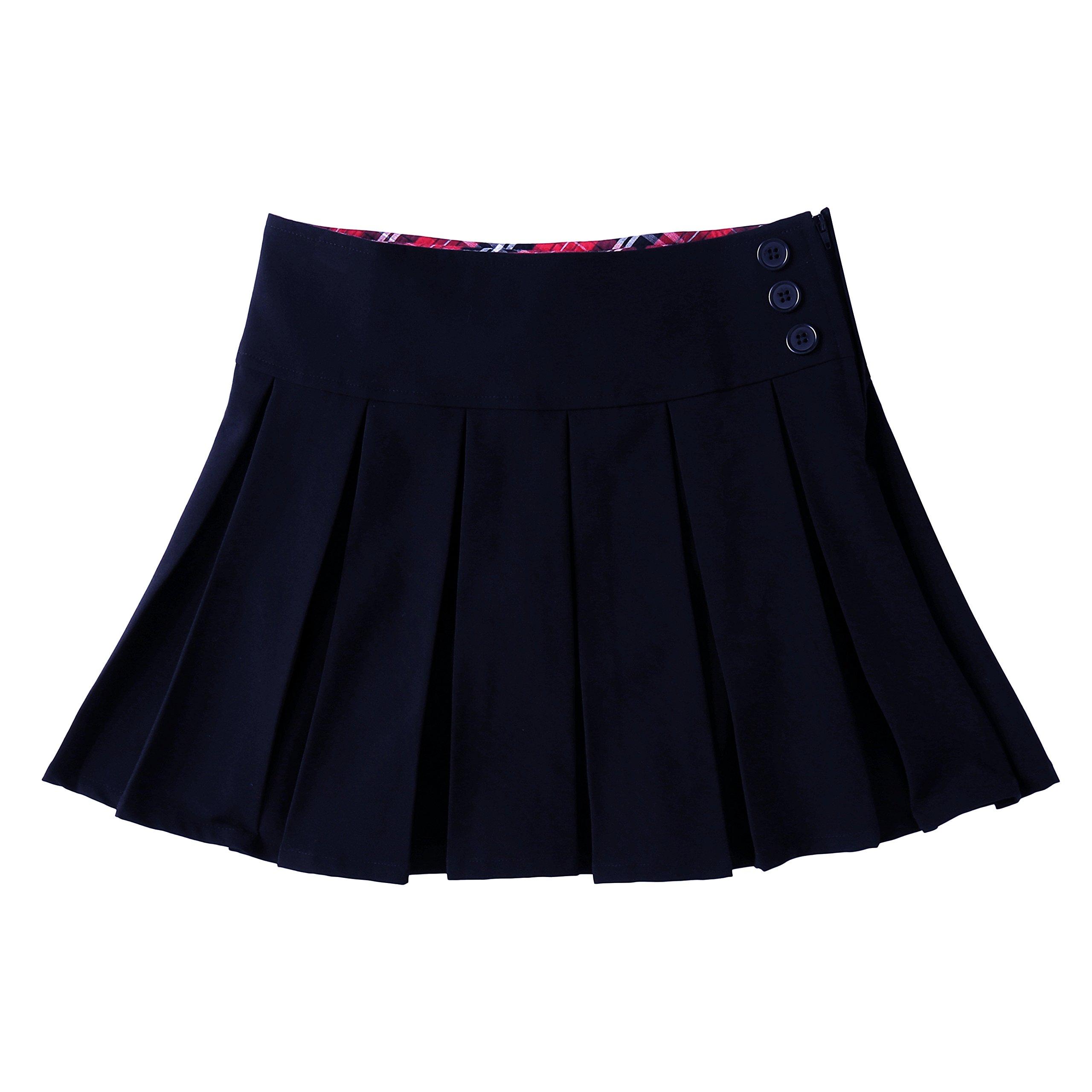 Bienzoe Girl's Pleated Hem School Uniform Skirt Navy 8