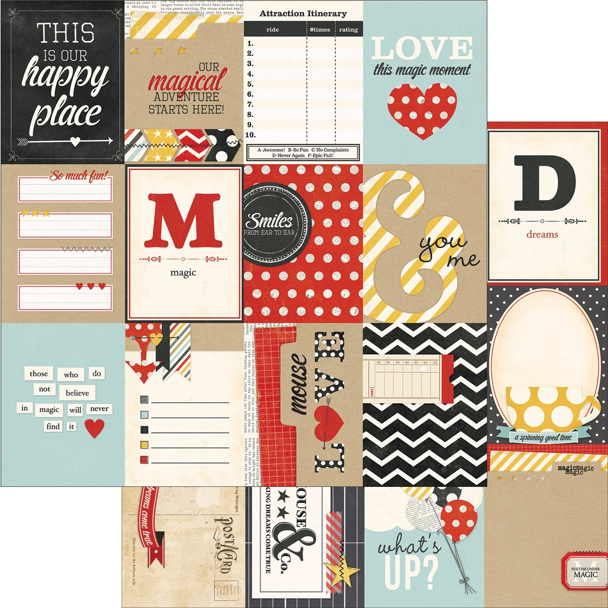 Say Cheese Double-Sided Elements Cardstock 12''X12''-3''X4'' Journaling Cards