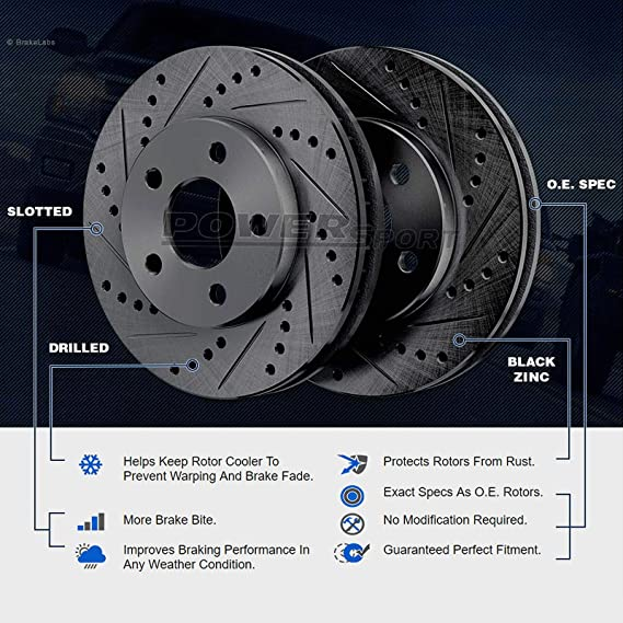 Brake Rotors POWERSPORT *DRILLED /& SLOTTED* DISC BF00244 2 Rear