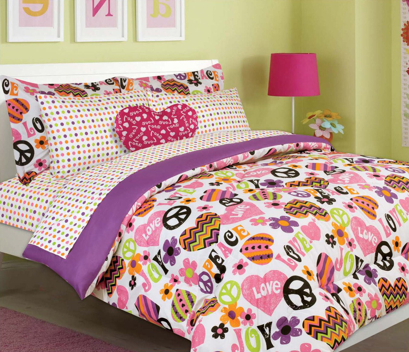 Twin Comforter and Sheet Set, Pink Purple Orange Green Chevron Heart and Peace Sign