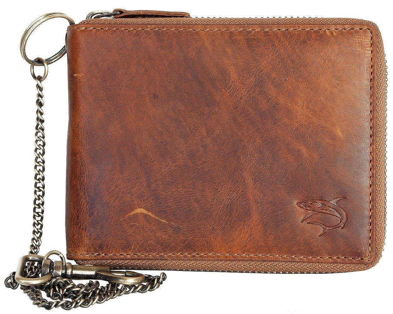 FLW Billetera estilo motero zip alrededor de cuero genuino con el tiburón con cadena de metal: Amazon.es: Ropa y accesorios