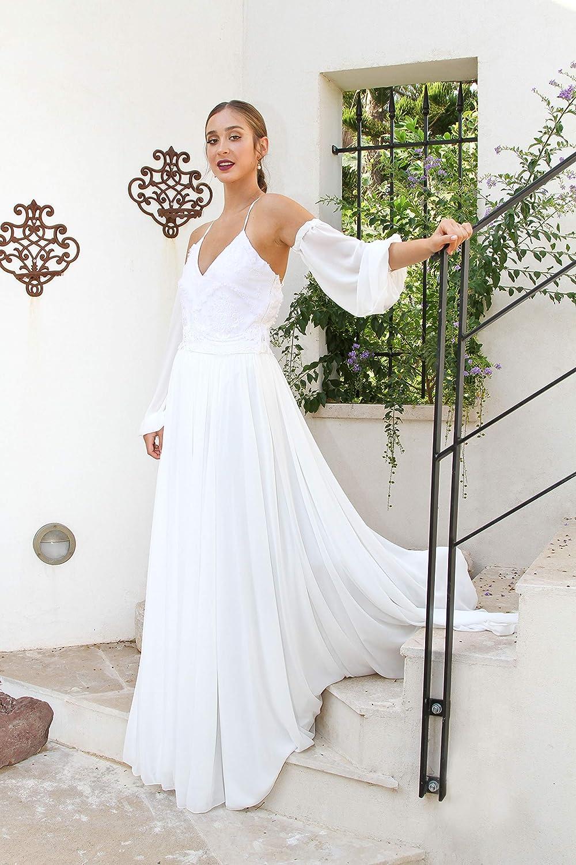 Amazon Com Wedding Dress Alternative Ivory Women Long Maxi Bridal