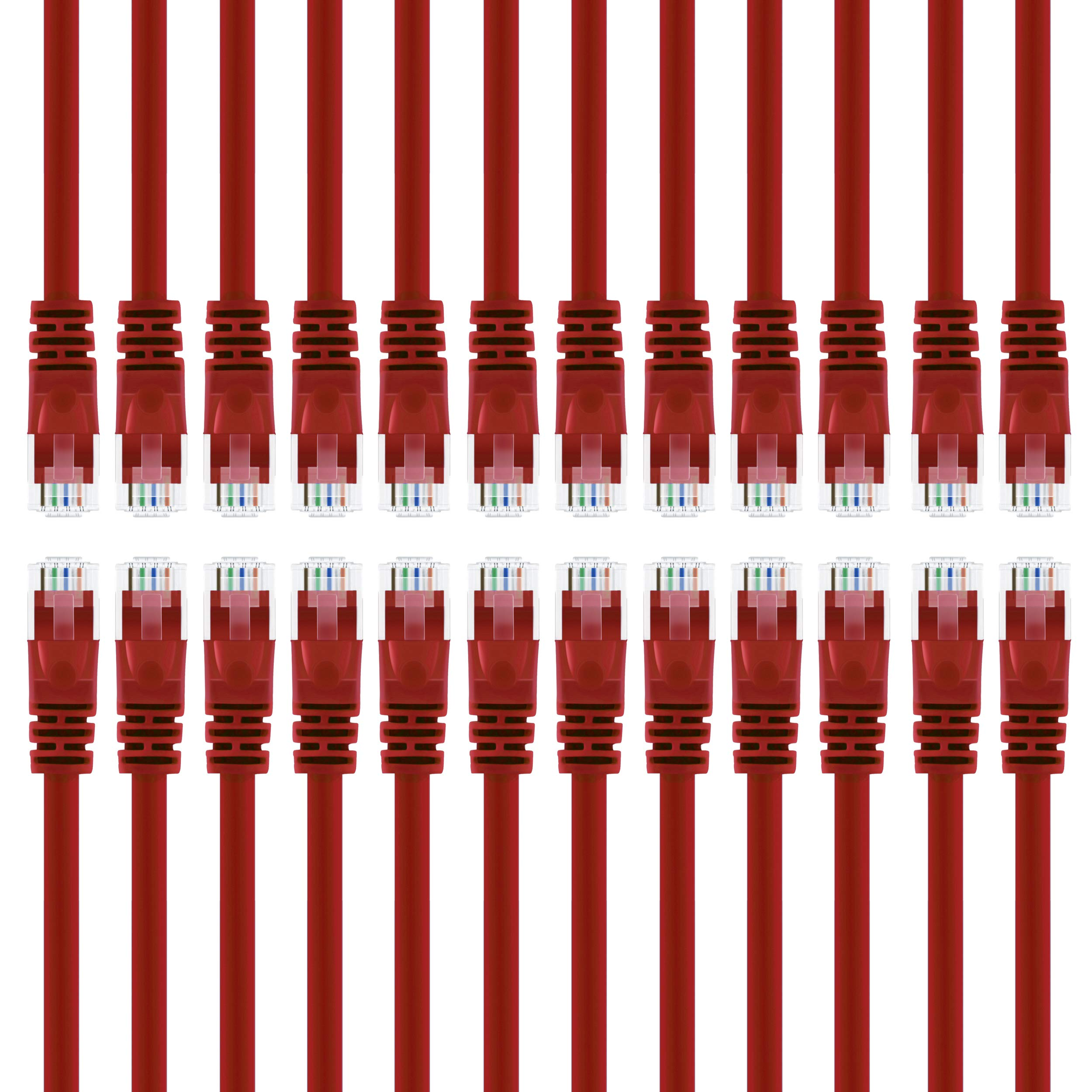 GearIT 24-Pack, Cat 6 Ethernet Cable Cat6 Snagless Patch 3 Feet - Snagless RJ45 Computer LAN Network Cord, Red - Compatible with 24 48 Port Switch POE Rackmount 24port Gigabit by GearIT