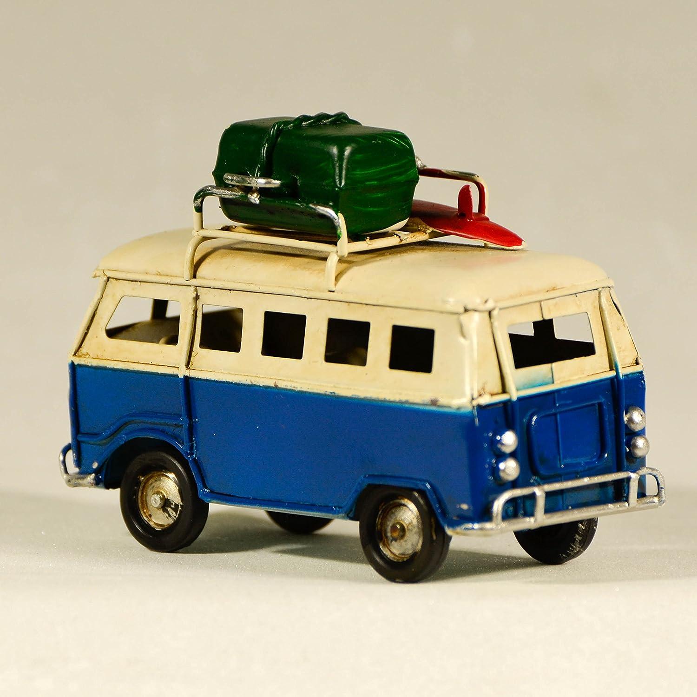 UniqueGift M/étal Bleu R/étro Mini Van/ /Figurine/ /Classic Van Ornement /R/étro Shabby Chic Van/ /Mod/èle Camping-Car Miniature/ /VW Van/