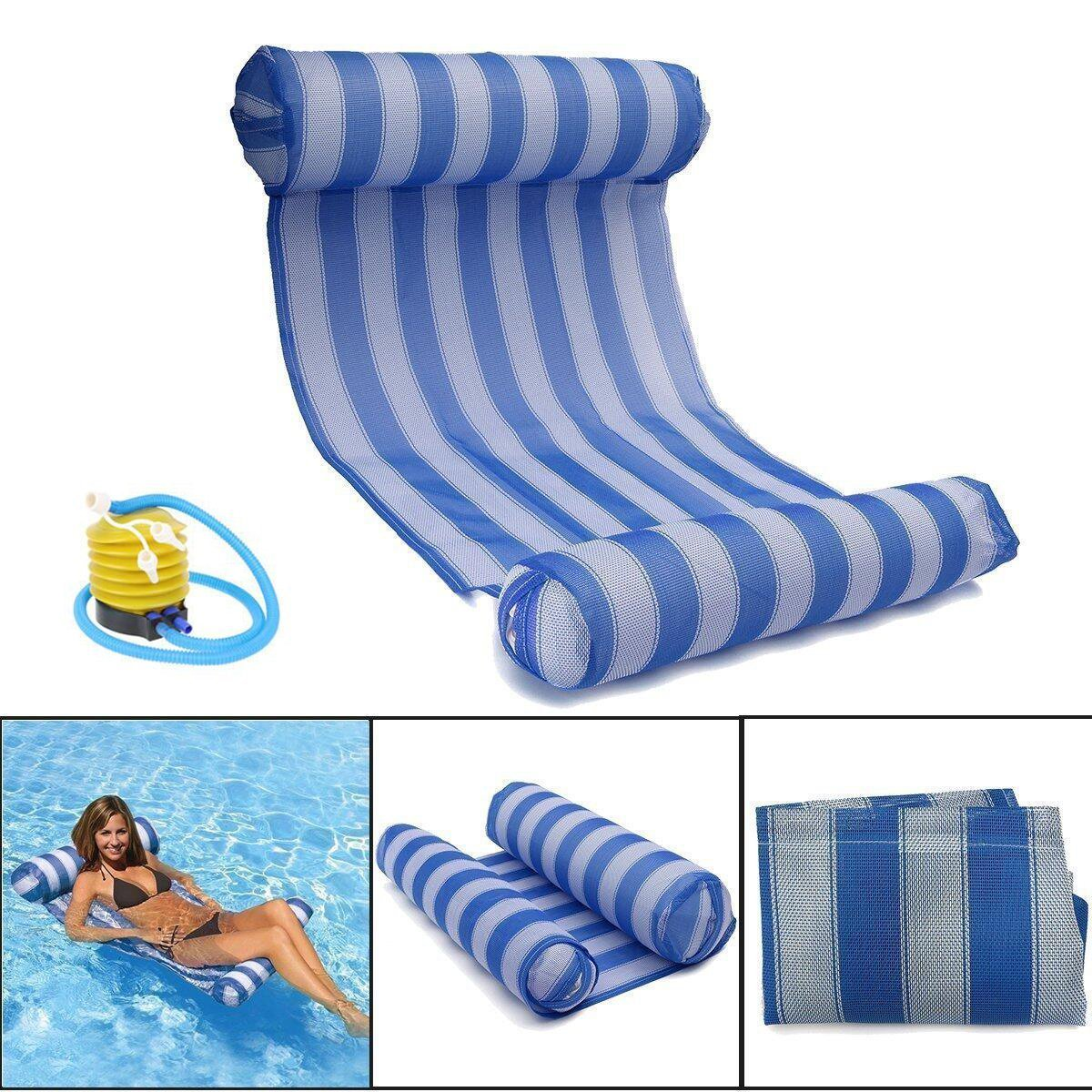 Brinny Schwimmende Wasser Hä ngematte Schwimmbad Stuhl Wasser schwimmende Bett Schwimmer Liege Klappbare Pool 70*132CM Blau