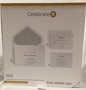 photograph relating to Printable Wedding Invitation Kits titled Rejoice it Marriage Invitation Package 30 Sets (White w Silver dots)