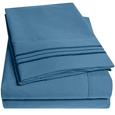 1500 Supreme Collection Extra Soft Full Sheets Set, Denim - Luxury Bed Sheets Set With Deep Pocket Wrinkle Free Hypoallergenic Bedding, Over 40 Colors, Full Size, Denim