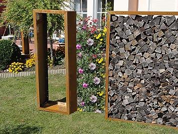 Kaminholzregal Metall Aus Cortenstahl Edelrost Amazonde Garten