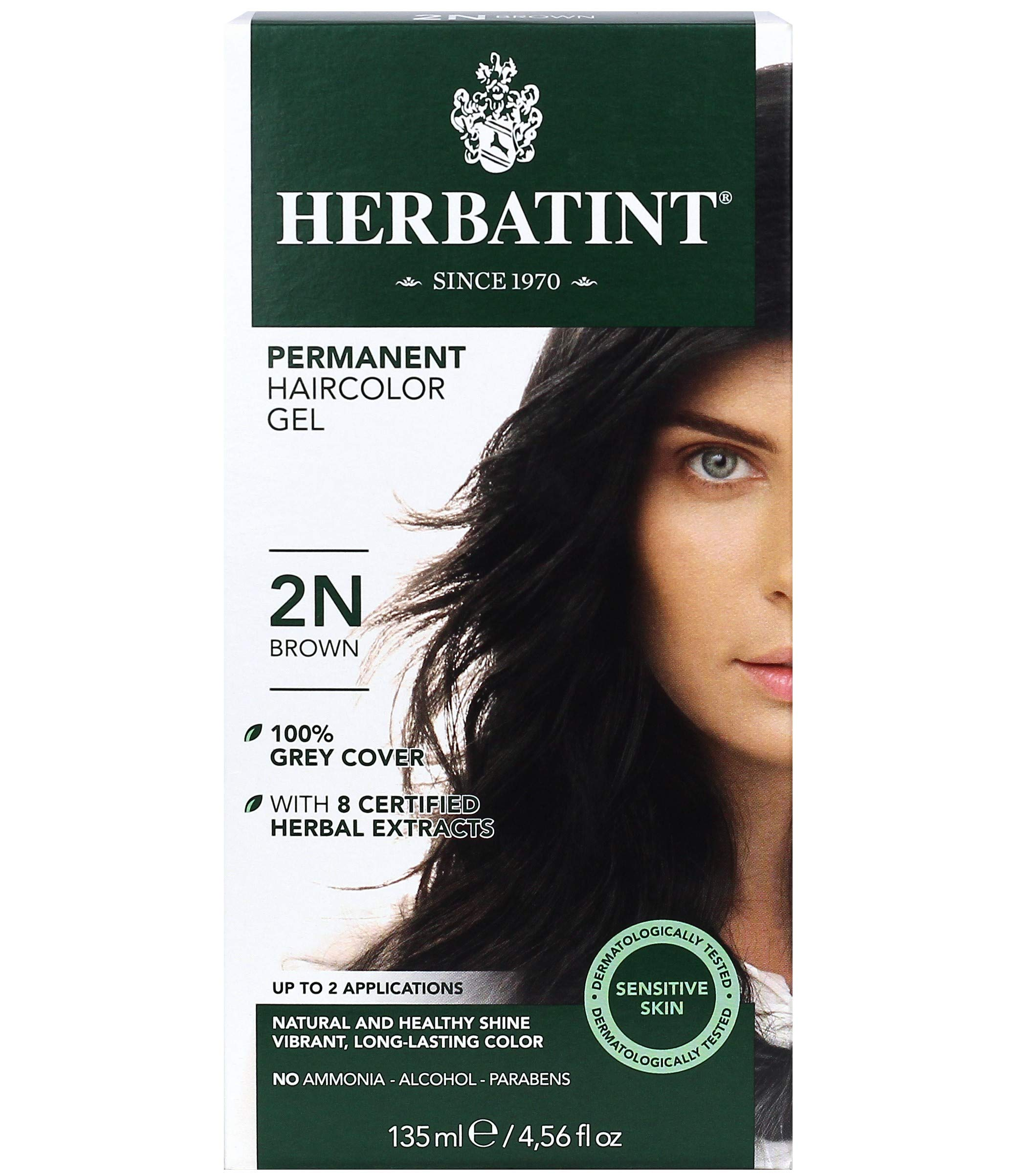 Herbatint Permanent Haircolor Gel, 2N Brown, 4.56 Ounce
