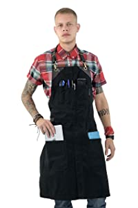 Under NY Sky No-Tie Black Apron with Full Grain Leather Straps – Durable Twill, Split-Leg, Adjustable for Men and Women – Pro Chef, Pastry, Tattoo Artist, Barista, Bartender, Stylist, Server Aprons