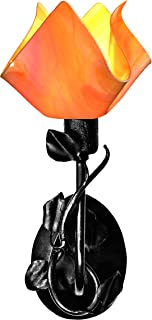 product image for Jezebel Radiance BRSC-B-MA-FP12-TAG Flame Style Black Branch Sconce with Magnolia Leaves, Tangerine