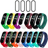 Milomdoi [19 Items] 15 Colors Straps Bracelet + 4pack PET Screen Protector for Xiaomi Mi Band 5, Soft Silicone…