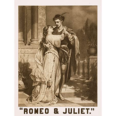 CHARACTERS SHAKESPEARE ROMEO JULIET PORTRAIT EMBRACE ART PRINT POSTER CC1899