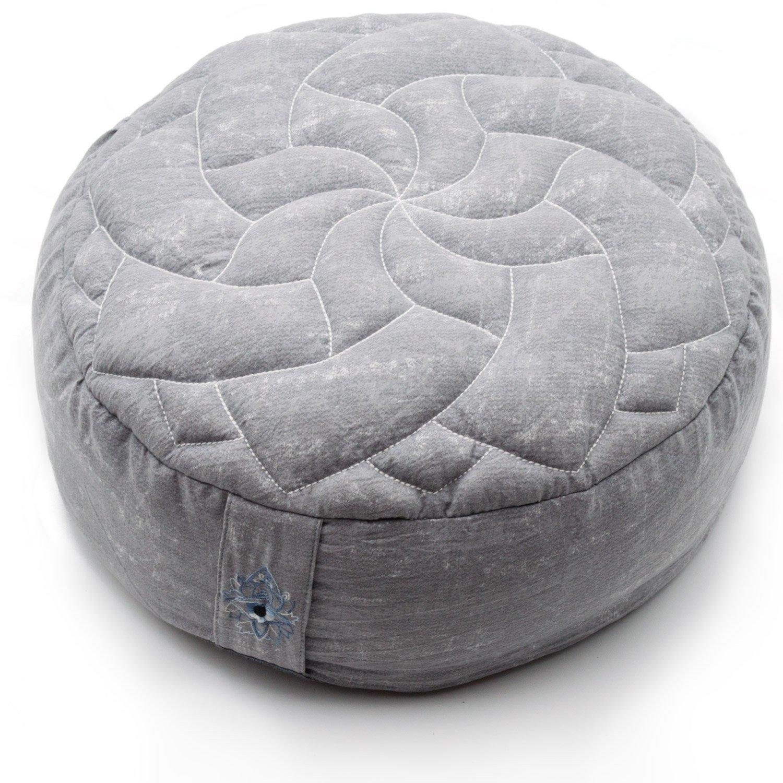Zenjara Zafu Yoga Meditation Cushion - 13'' x 5'' Cloud Grey | Overstuffed USA Buckwheat Hull Filling | Washable, Removable Double-Layer Cotton Pillow Cover w/Quilted Mandala | Stylish Carrying Bag