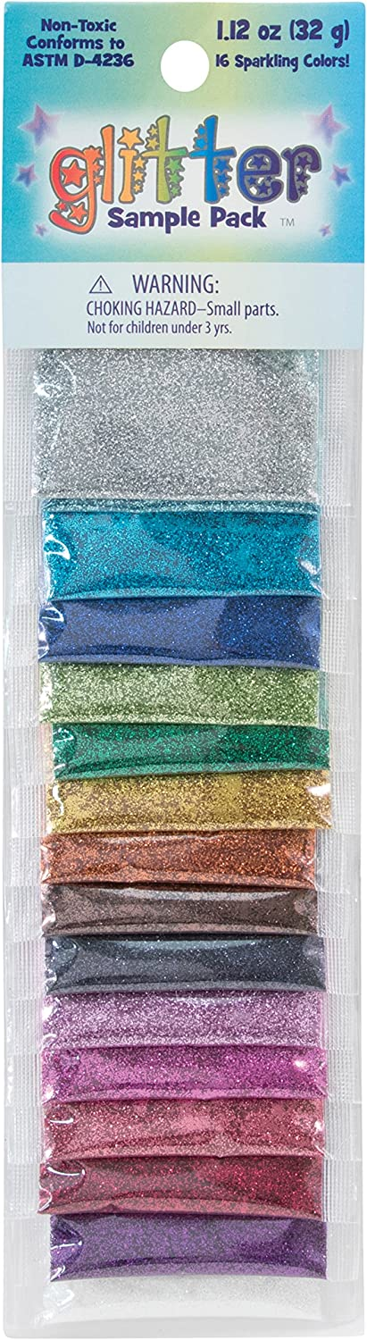 Sulyn Sparkling Glitter Sample Pack, Non-Toxic Variety Pack, 16 Assorted Classic Colors, 1.12 ounces, SUL6651