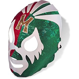 Mil Mascaras Pro-Wrestling Red W/Green Lycra Mask Adult size- Mascara de