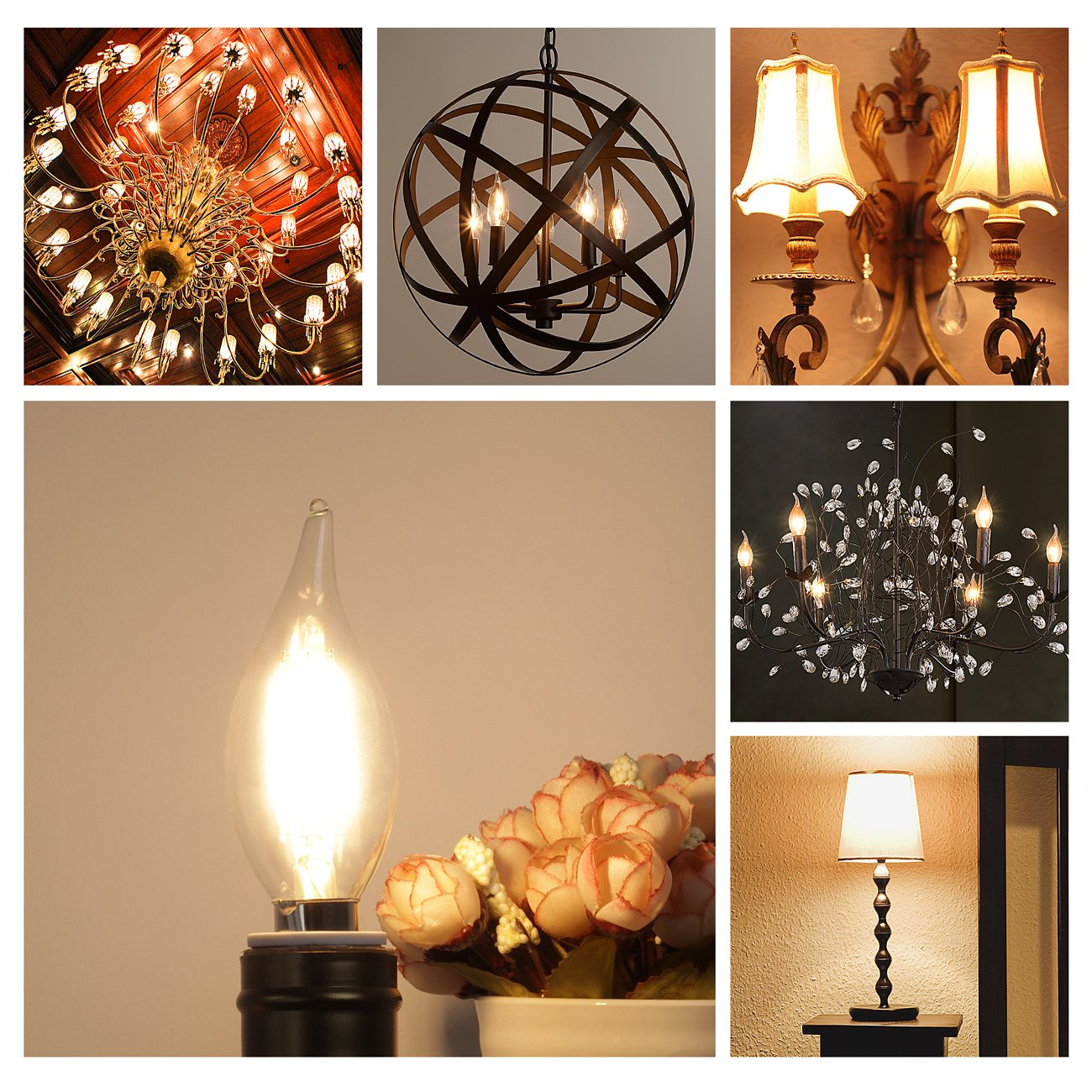 E12 LED Candelabra Bulb 60W Equivalent Dimmable LED Chandelier Light Bulbs 6W 2700K Warm White 550LM CA11 Flame Tip Vintage LED Filament Candle Bulb with Decorative Candelabra Base, 6 Packs, by Boncoo by Boncoo (Image #7)