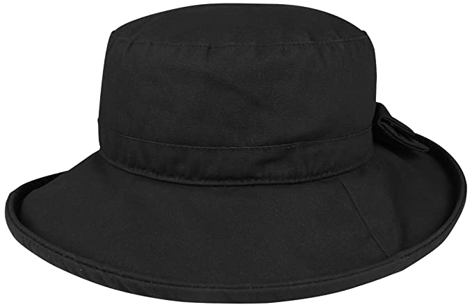 3bcbd566d9ebb2 Juniper Women's Waxed Cotton Canvas Wide Brim Bucket Hat, One Size, Black