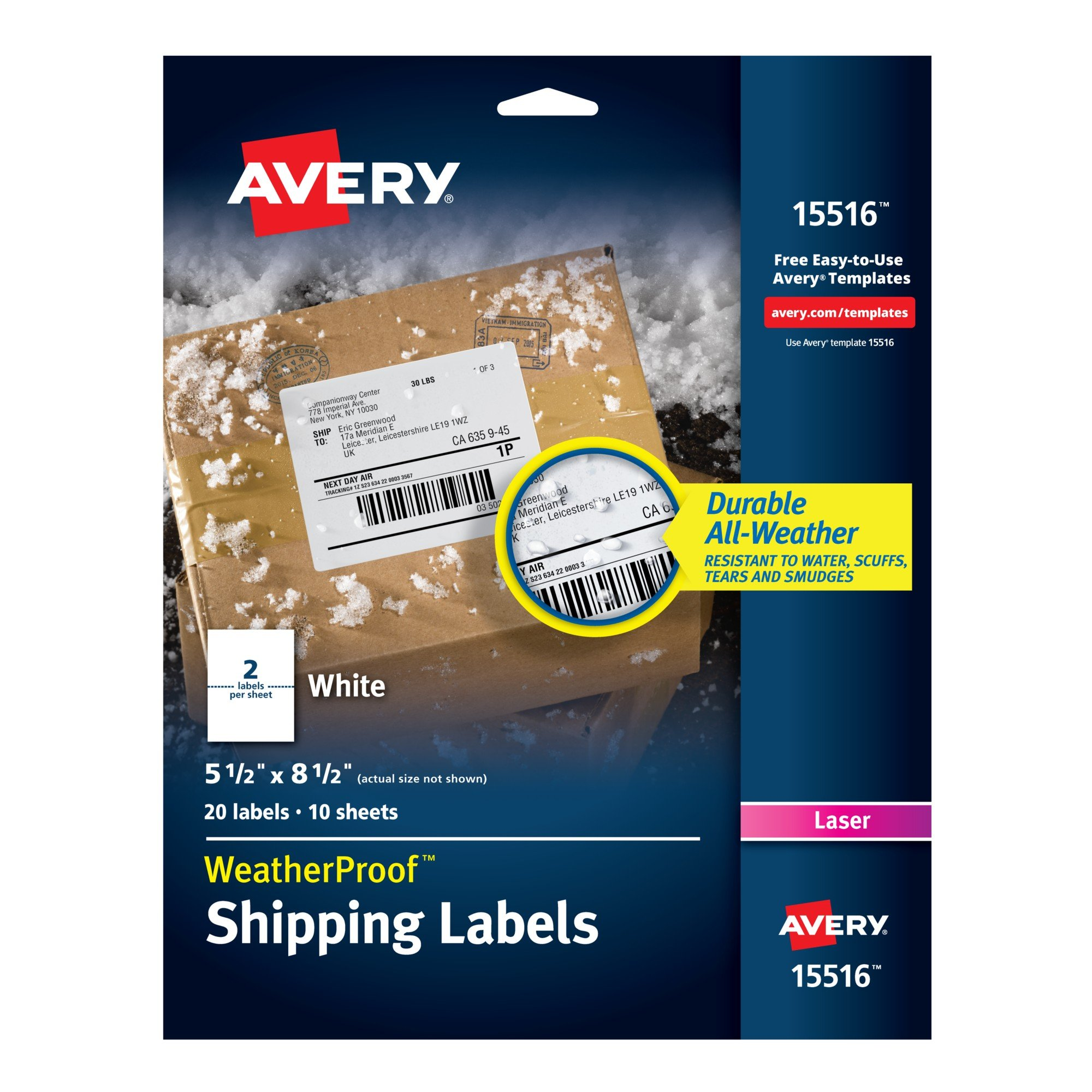 Avery WeatherProof Mailing Labels with TrueBlock Technology for Laser Printers 5-1/2'' x 8-1/2'', Pack of 20 (15516)