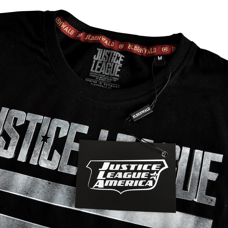 Liga de la Justicia para hombre de la camiseta de acero Logotipo negro de algodón DC Comics Elbenwald Mc9bURI