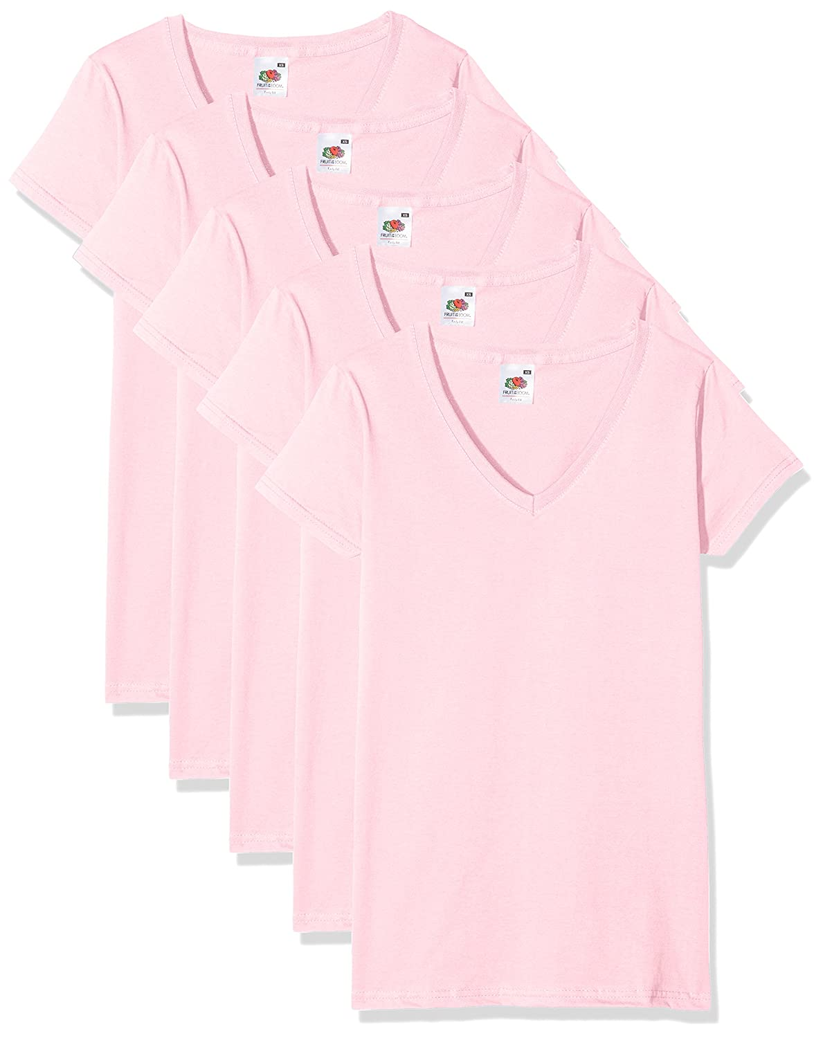 TALLA XS. Fruit of the Loom Valueweight Camiseta (Pack de 5 para Mujer