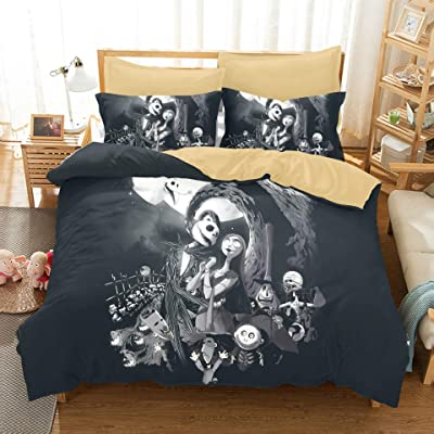 Felu Bedding Duvet Cover Set of Kids, The Nightmare Before Christmas Pattern Comforter Cover Set with 1 Duvet Cover and 2 Pillowcases (Full Size): Home & Kitchen
