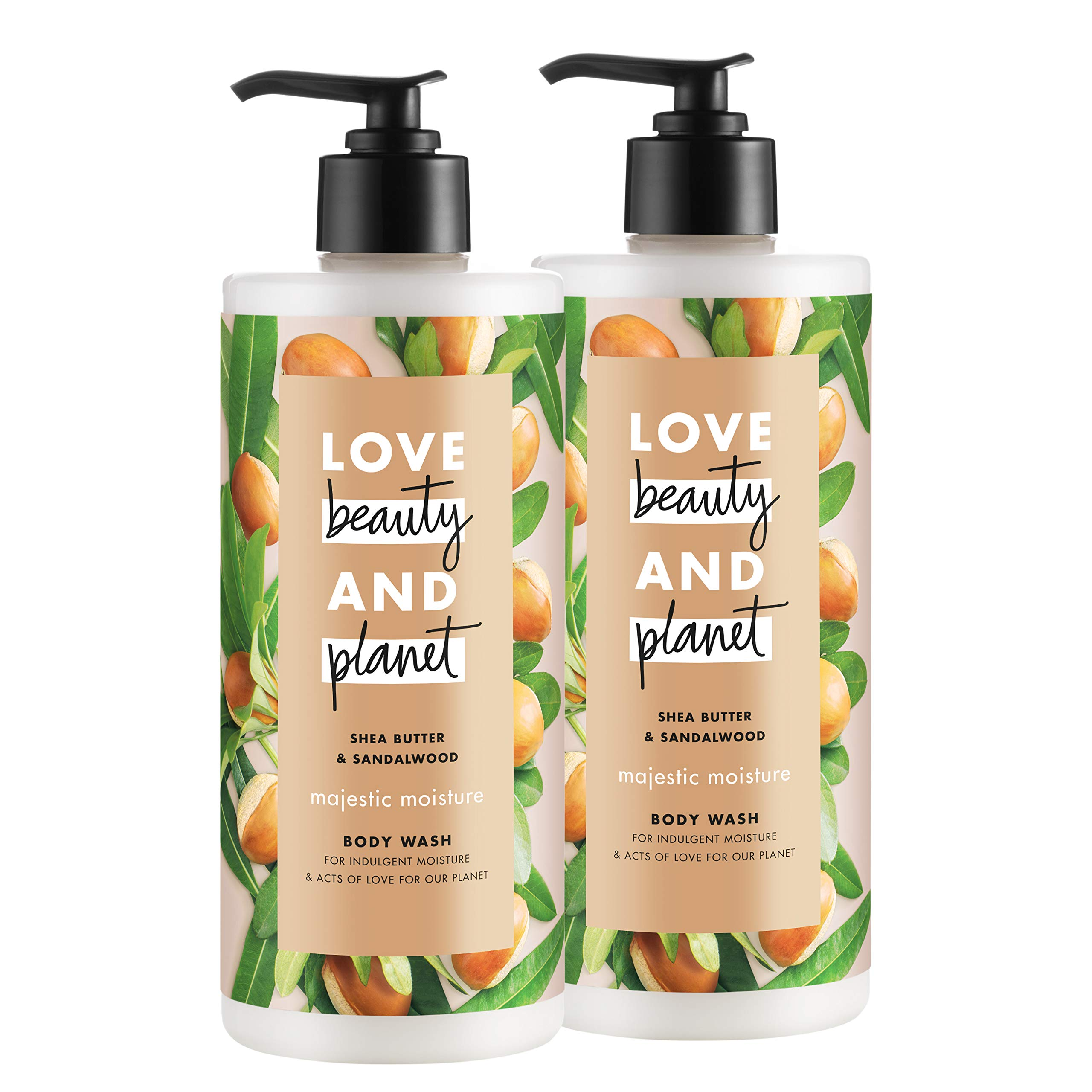 Love Beauty And Planet Majestic Moisture Body Wash Shea Butter & Sandalwood, Vegan, Paraben Free, and Sulfate Free, 16 oz, 2 count by LBP BODY WASH