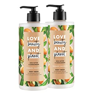 Love Beauty And Planet Majestic Moisture Body Wash Shea Butter & Sandalwood, Vegan, Paraben Free, and Sulfate Free, 16 oz, 2 count