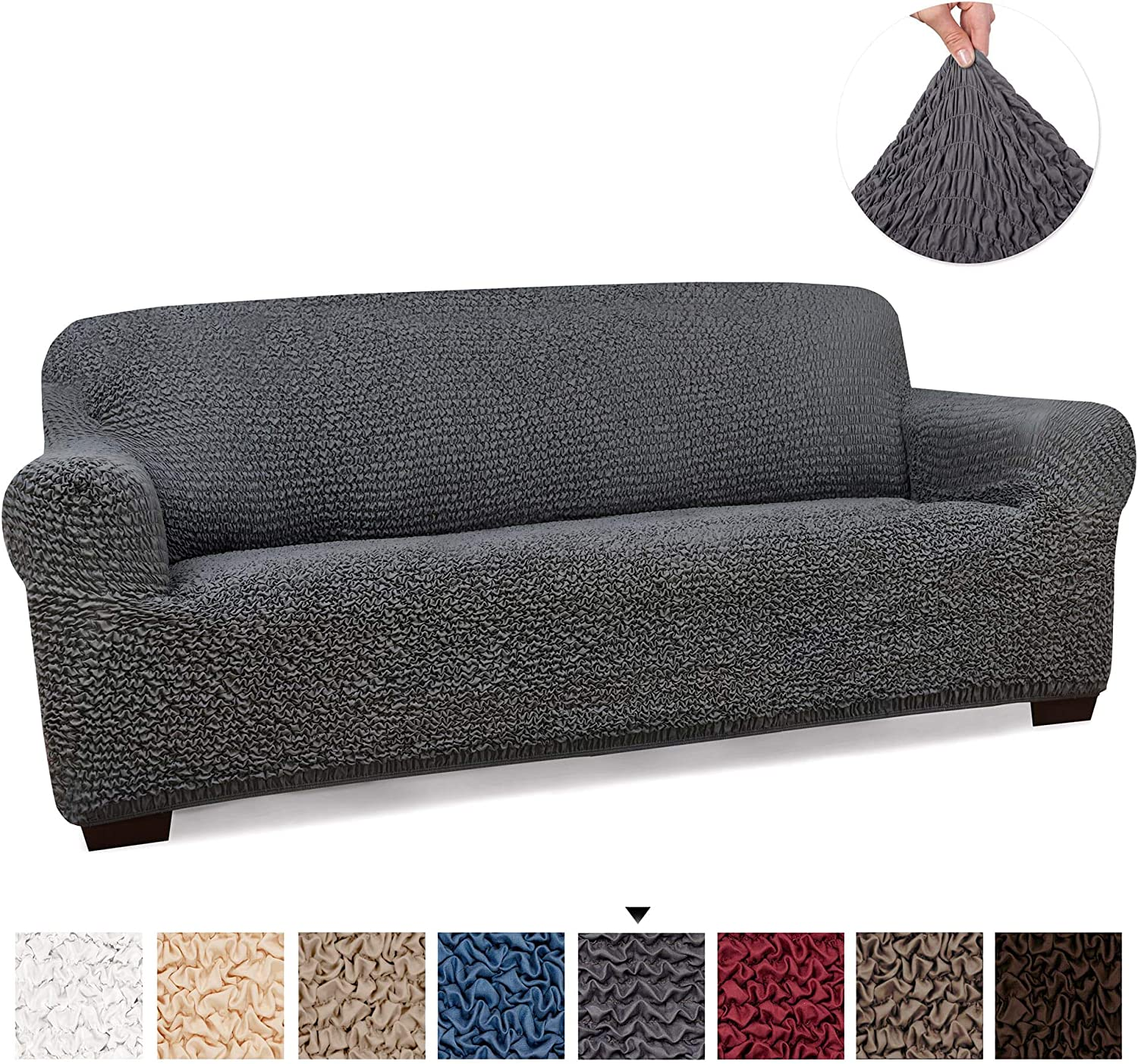 PAULATO BY GA.I.CO. Couch Cover Sofa Cover Sofa Slipcover Soft Polyester Fabric Slipcover 1 Piece Form Fit Stretch Stylish Furniture Cover
