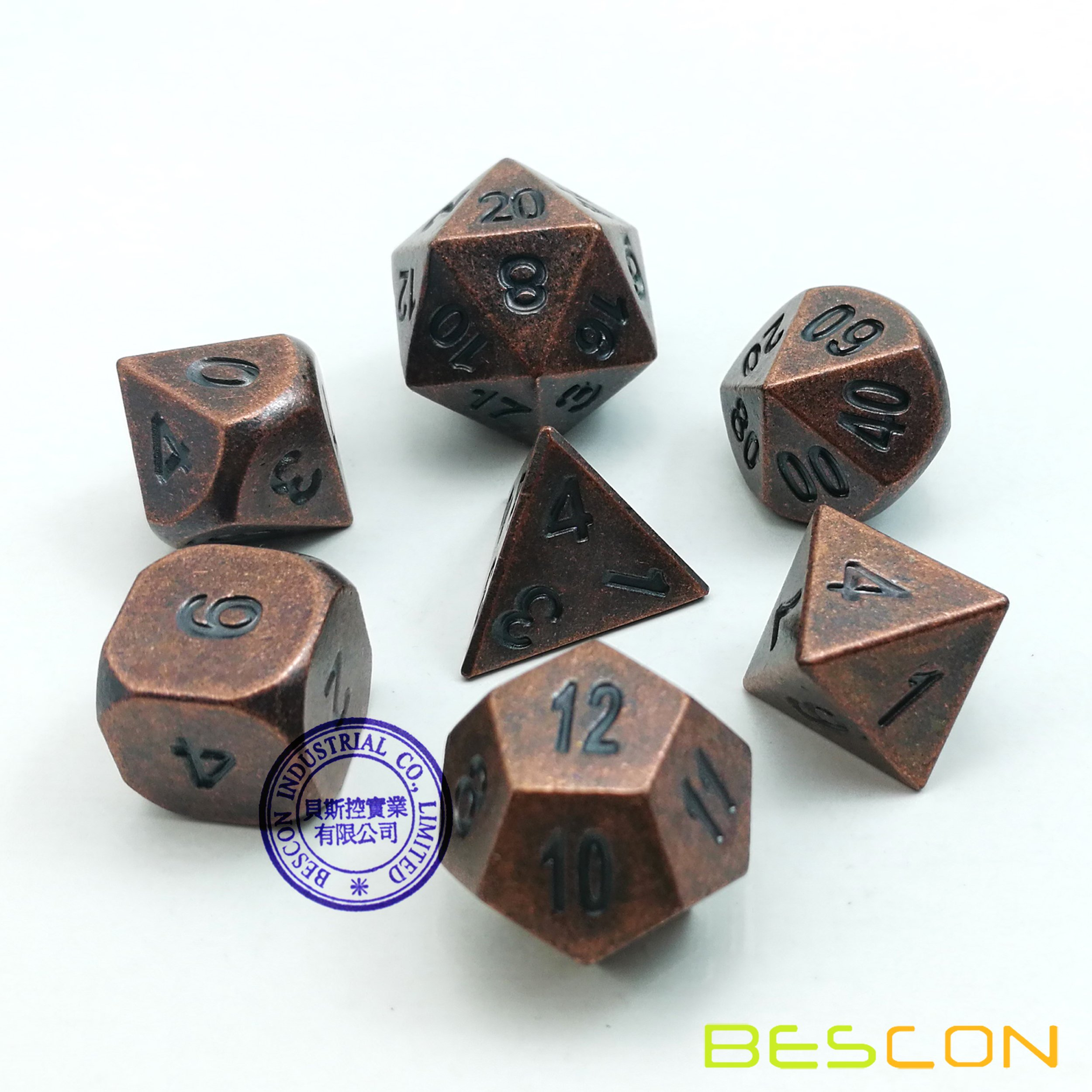 Bescon Antique Copper Solid Metal Polyhedral D&D Dice Set of 7 Old Copper Metal RPG Role Playing Game Dice 7pcs Set by BESCON DICE