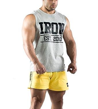 14ed58821eca7a Amazon.com  Iron Muscle Tank Grey - Mens Gym Bodybuilding Workout Fitness  Shirt Cotton  Clothing