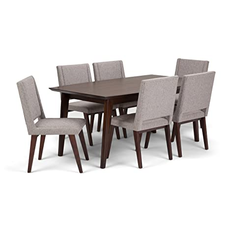 5e7f97ee71 Amazon.com: Simpli Home AXCDS7DRP-G Draper Mid Century Modern 7 Piece  Dining Set with 6 Upholstered Dining Chairs in Grey Linen Look Fabric and 66  inch wide ...