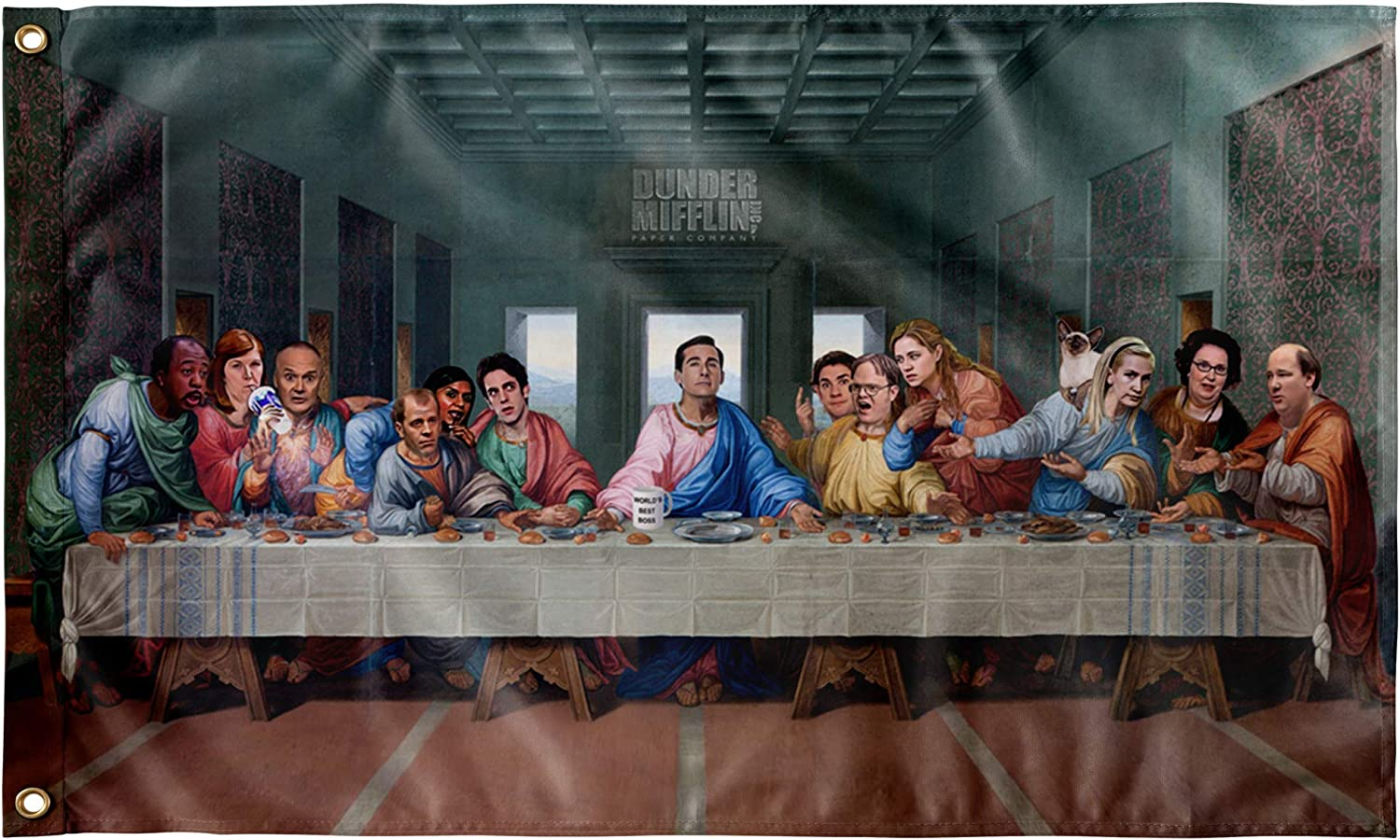 "The Last Supper at Dunder Mifflin Wall Flag - 60x36"" - Funny tapestry for college dorm - The Office TV Show Wall Art"