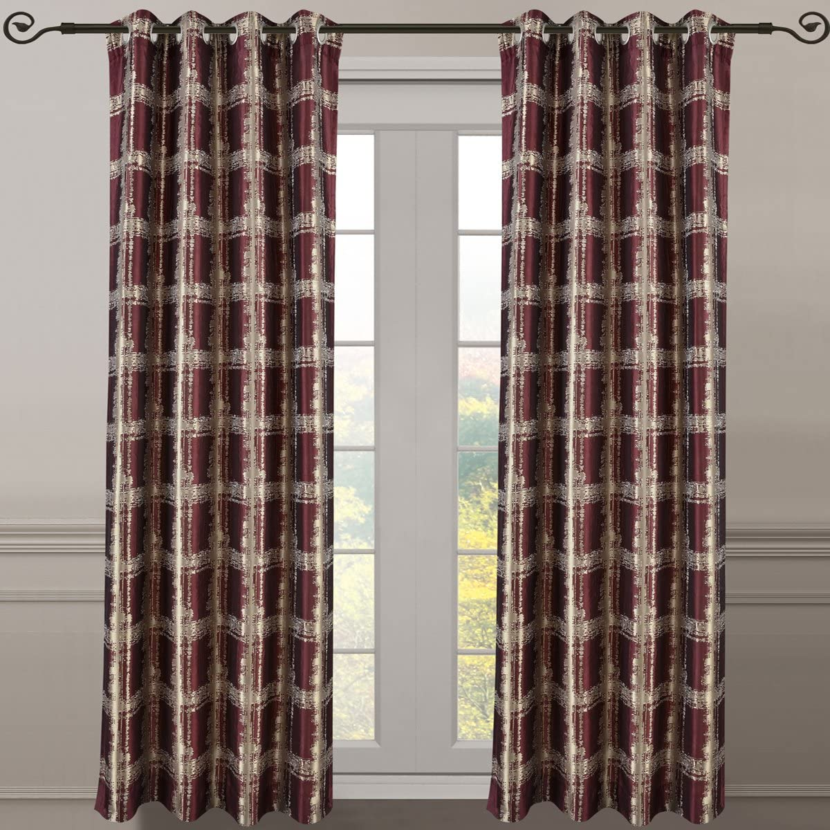 Royal Bedding Studio Burgundy Panels, Top Grommet Abstract Jacquard Textured Window Curtain Panel, Set of 2 Panels, 52×108 Inches Each