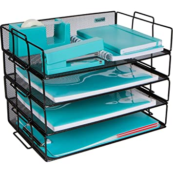 Superb Stackable Paper Tray Desk Organizer 4 Tier Metal Mesh Letter Organizers For Business Home School Stores And More Organize Files Folders Download Free Architecture Designs Oxytwazosbritishbridgeorg