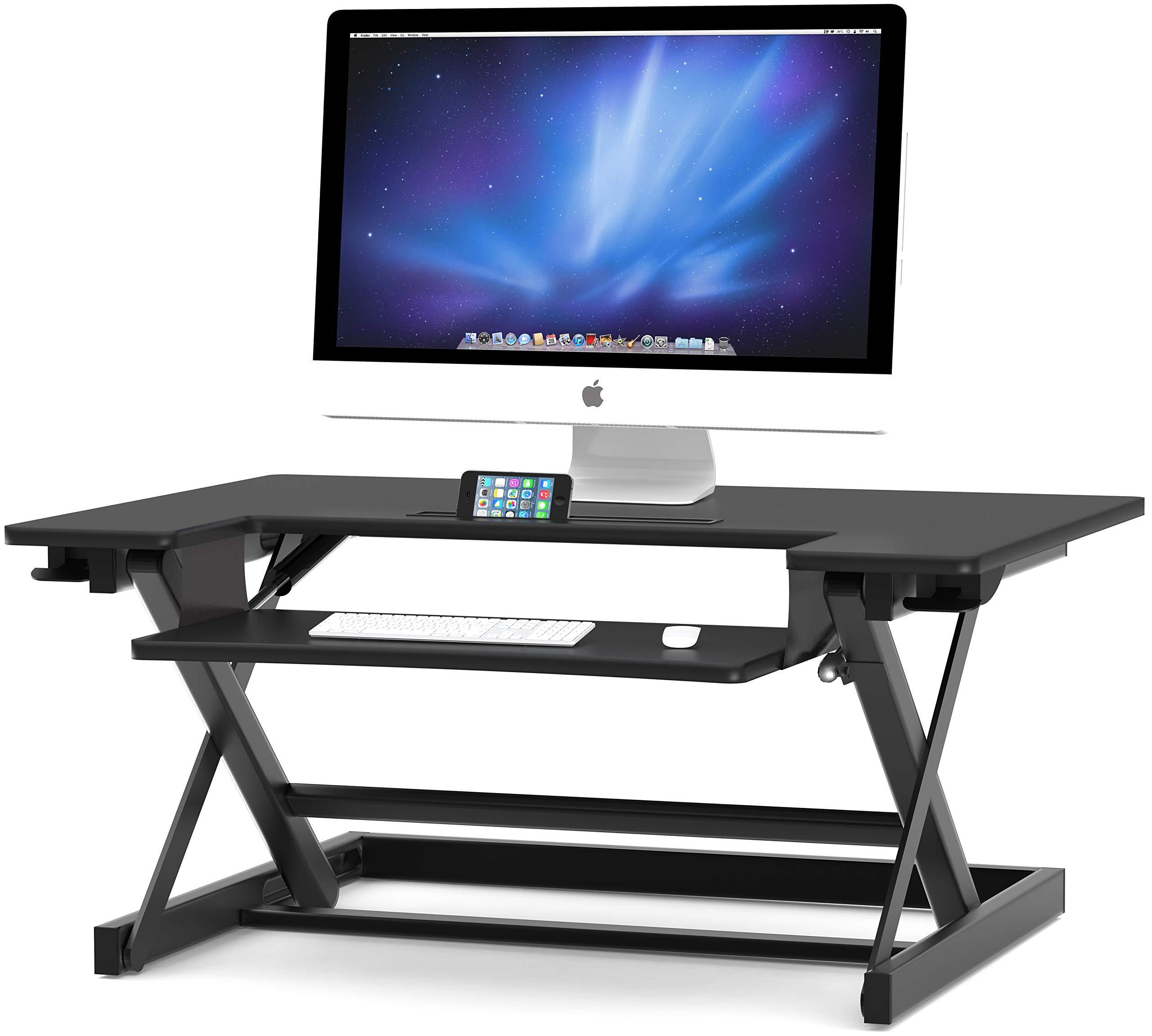 SHW Height Adjustable Sit to Stand Desk Riser Converter Workstation, Black by SHW (Image #4)