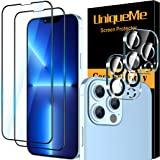 4 Pack UniqueMe 2 Pack Screen Protector Compatible for iPhone 13 Pro (6.1 inch) and 2 Pack Camera Lens Protector Tempered Gla
