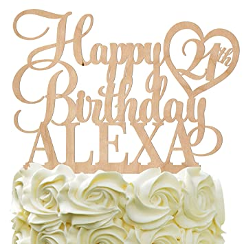 Happy Birthday Customize Cake Topper Personalized Name Age With Heart