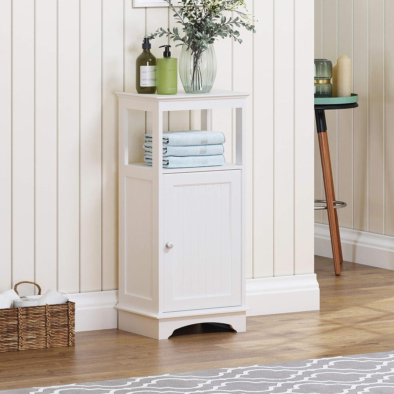 Spirich Home Floor Cabinet with Single Door and Shelves, Bathroom Floor Cabinet, White