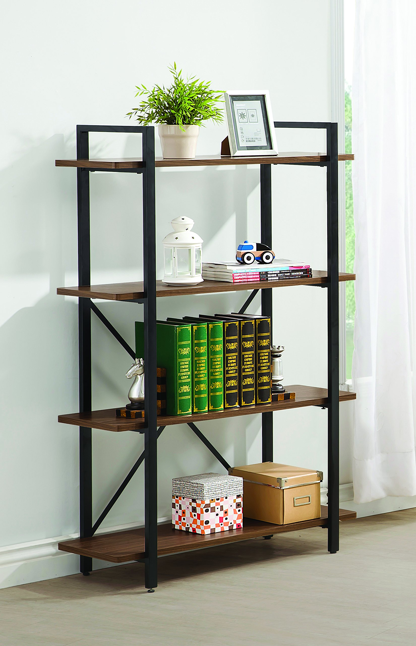 Coaster Industrial Walnut Bookcase with 4 Shelves