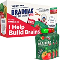 Brainiac Kids Omega-3 Applesauce Pouches, Apple, 3.2 Oz (10 Pack) - Supercharge Kids Developing Brains with Omega-3s & Choline - Pediatrician Approved - No Added Sugar or Artificial Flavors