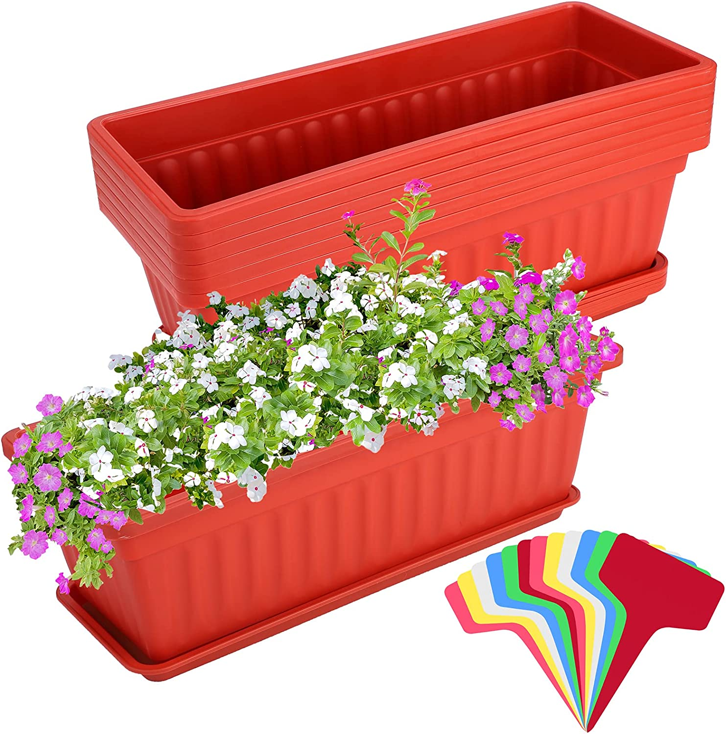 Elcoho 6 Pack Flower Window Box Planters 17 Inches Plastic Vegetable Plant Pot Rectangular Planters with Trays for Windowsill, Patio, Porch, Garden, Home Decor (Red)
