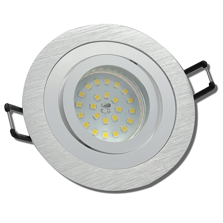 5 Stück SMD Modul Einbaustrahler Marie 230 Volt 7 Watt Schwenkbar Silber Neutralweiß