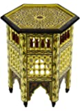 Wood Table Moroccan Painted Light Yellow