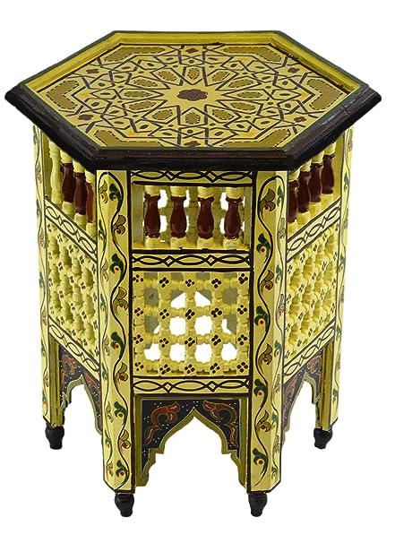 Amazon.com: Mesita de madera marroquí hecha a mano, delicada ...